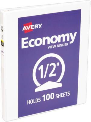 "1/2"" Economy View Poly Binder w/Round Rings White"