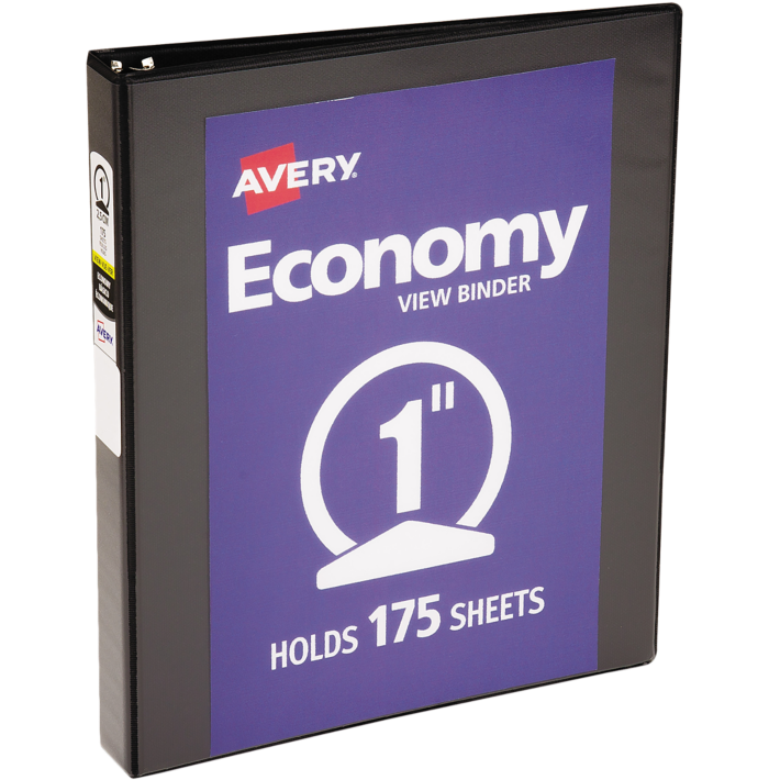 "1"" Economy View Poly Binder w/Round Rings Black"