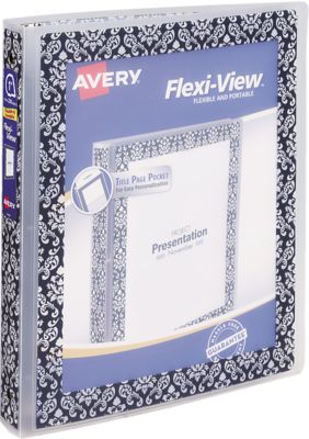 """1"""" Flexi-View Binder with Round Rings Damask Border"""