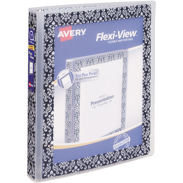 "1"" Flexi-View Binder with Round Rings Damask Border"