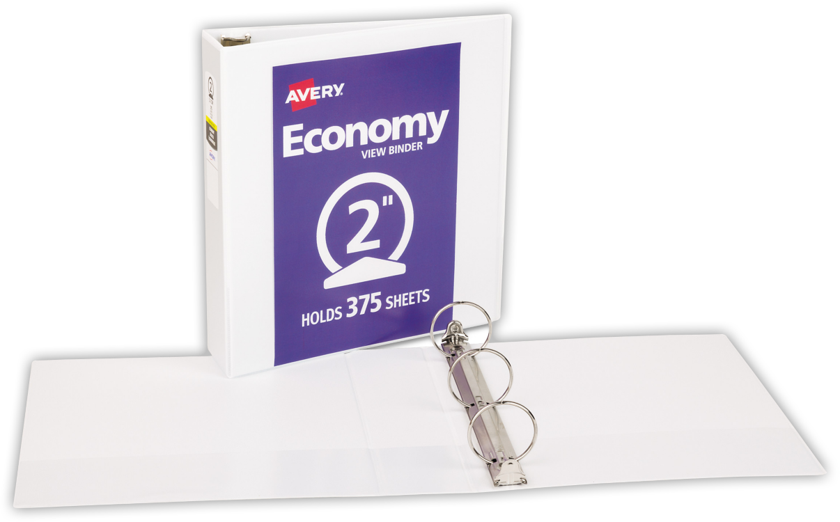 "2"" Economy View Poly Binder w/ Round Rings White"
