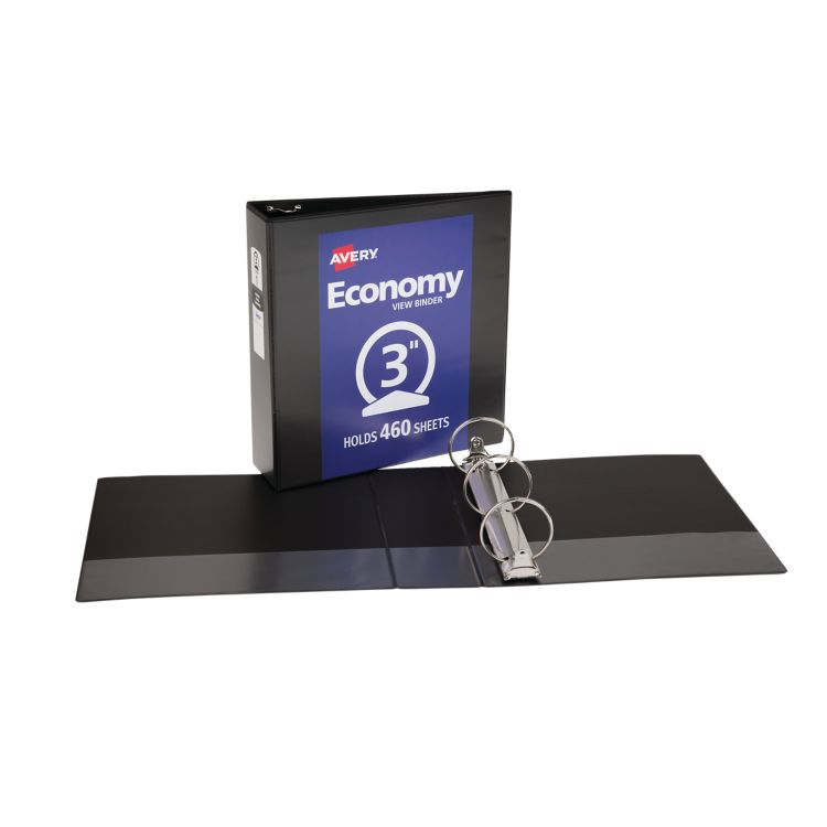 "3"" Economy View Poly Binder w/ Round Rings Black"