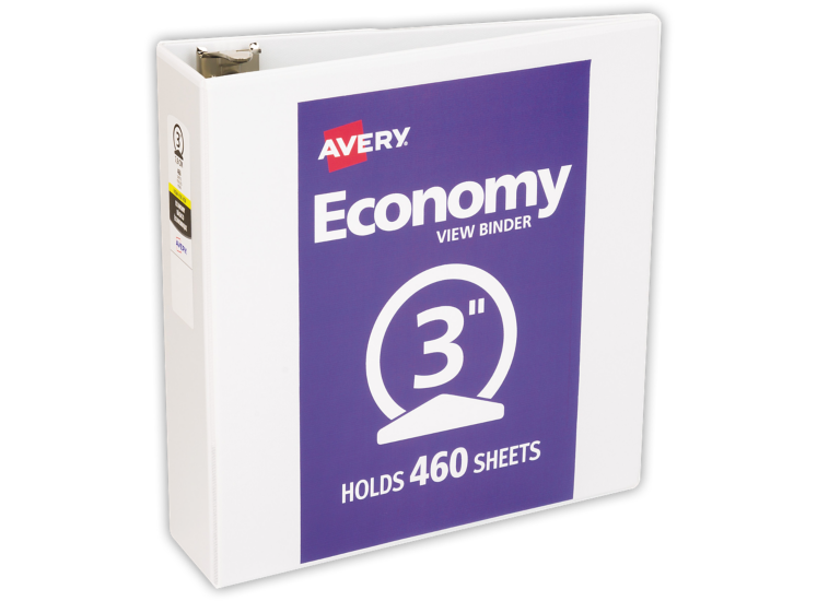 "3"" Economy View Poly Binder w/ Round Rings White"