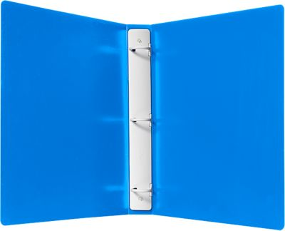 "This 23 gauge Plastic Three Ring Binder contains a 1"" capacity plastic Tuffy Ring to secure papers and documents. The Tuffy Ring is attached to the folder with plastic rivets. This medium blue colored three ring binder will hold paper and documents sized 8 1/2 x 11"""