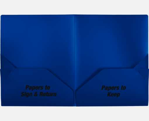 9 1/2 x 11 3/4 Poly Folder - Papers To Sign & Return, Papers To Keep Par Blue