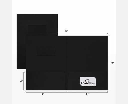 9 x 12 presentation folders two pocket black linen w window