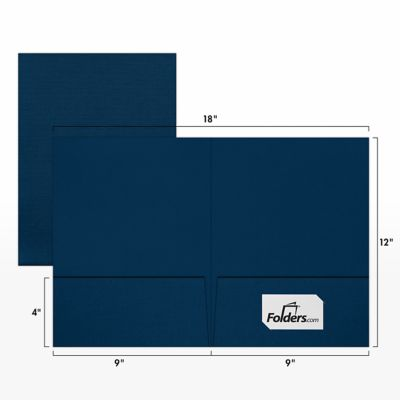 "9 x 12 Presentation Folders in Nautical Blue Linen with a standard two pocket design are perfect for holding standard letter size 8 1/2"" x 11"" paper, documents, print media, brochures, stepped inserts and other professional uses. The two interior pockets measure 4"" in height and the right pocket features card slits to securely hold and display standard size business cards (3 1/2"" x 2""). Both pockets are also die-cut in a v-split style to prevent buckling when opening and closing the covers. This folder is created from thick, durable 100lb. cover stock in a deep blue color with a high-quality linen texture. The square corners of this standard size presentation folder were expertly die-cut for a clean, professional look."