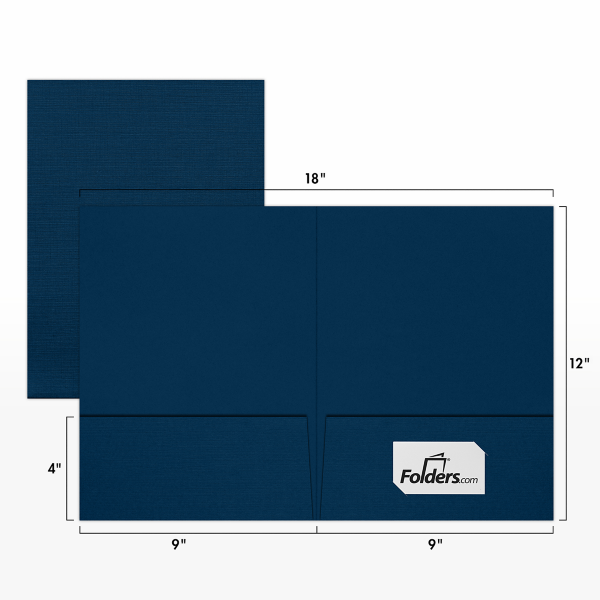 9 x 12 Presentation Folders Nautical Blue Linen