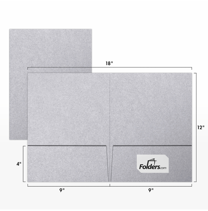 9 x 12 Presentation Folders Silver Metallic