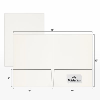 9 x 12 Presentation Folders - Standard Two Pocket White Linen