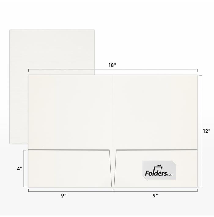 9 x 12 Presentation Folders  White Linen