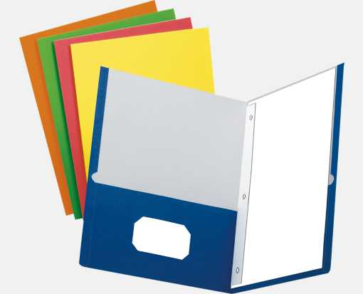 9 x 12 Presentation Folders w/ Brads - Assorted Pack of 100 Assorted