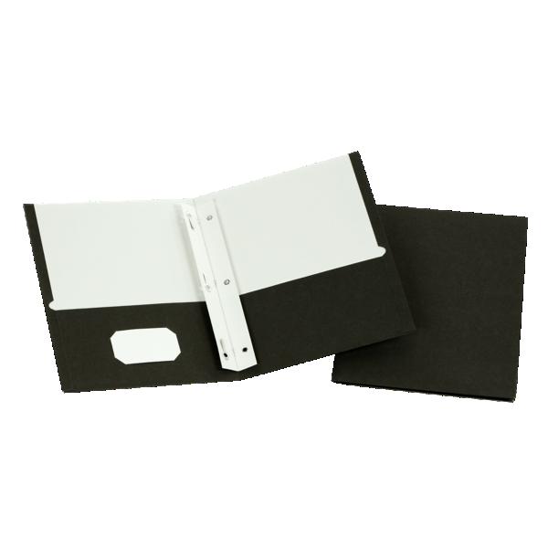 9 x 12 Presentation Folders w/ Brads Black