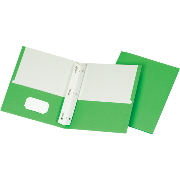 9 x 12 Presentation Folders w/ Brads Bright Green