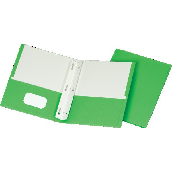 9 x 12 Presentation Folders w/ Brads Bright Green