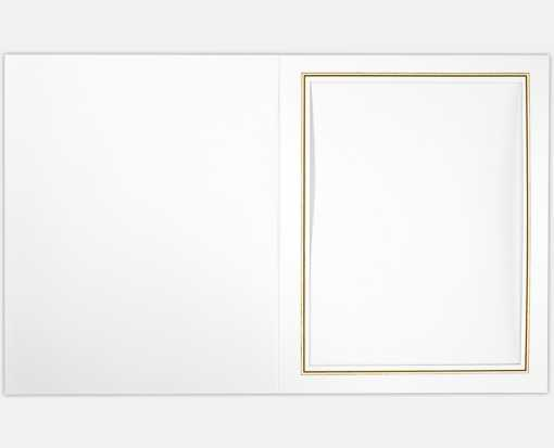 8 x 10 Portrait Photo Holder White Linen w/Gold Foil