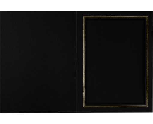 6 x 8 Portrait Photo Holder Black Linen w/Gold Foil