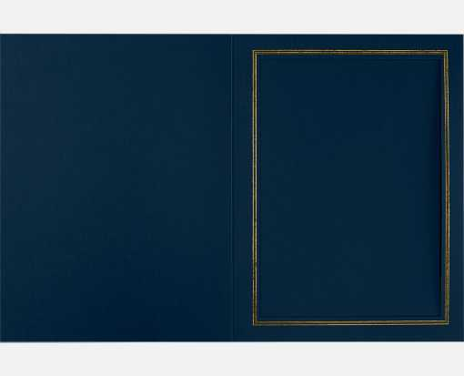 6 x 8 Portrait Photo Holder Nautical Blue Linen w/Gold Foil