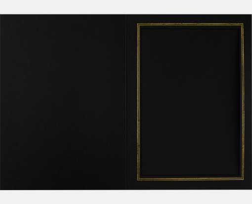 5 x 7 Portrait Photo Holder Black Linen w/Gold Foil