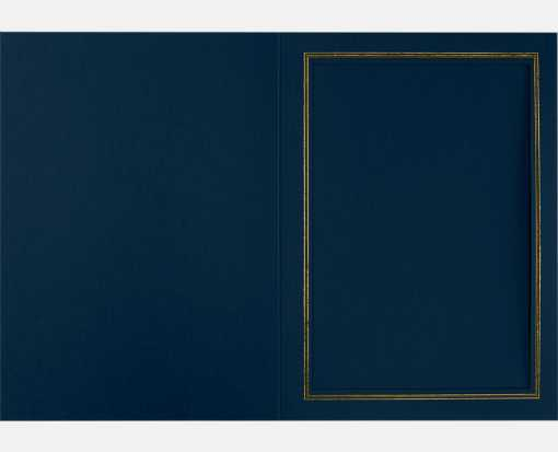 5 x 7 Portrait Photo Holder Nautical Blue Linen w/Gold Foil