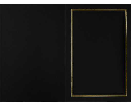 4 x 6 Portrait Photo Holder Black Linen w/Gold Foil