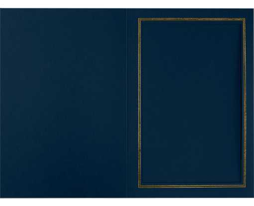 4 x 6 Portrait Photo Holder Nautical Blue Linen w/Gold Foil