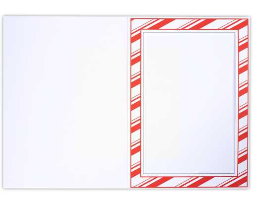 5 x 7 Portrait Photo Holder w/ Candy Cane Stripe White Gloss - Candy Cane