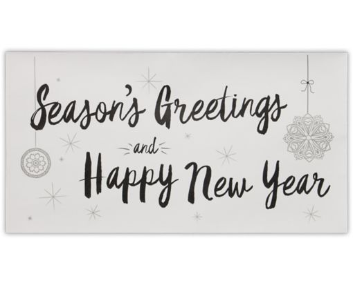Photo Greeting Gifting Envelopes (4 3/8 x 8 1/4) Seasons Greetings & Happy New Year on White