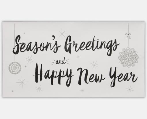 Seasons Greetings & Happy New Year on White 4 3/8 x 8 1/4 Envelopes ...