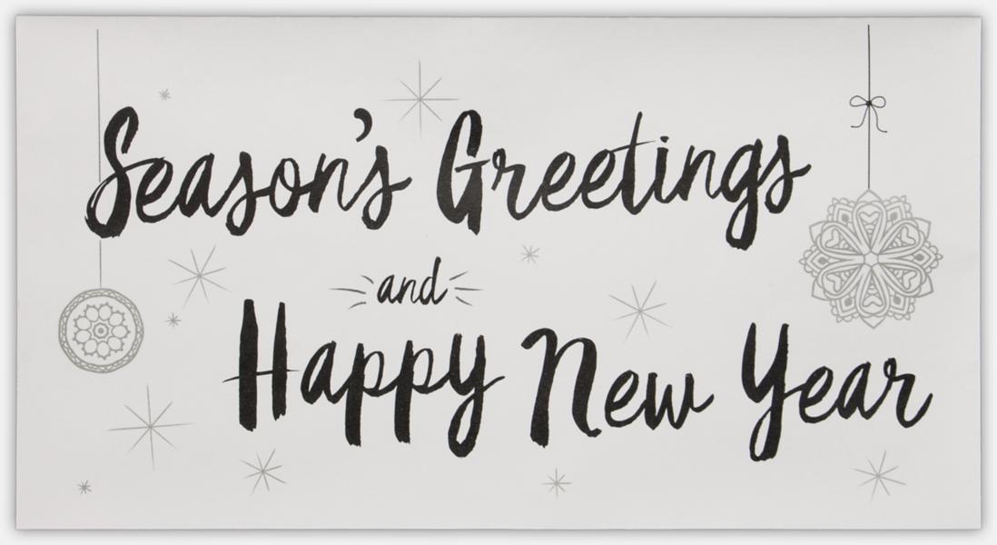 Seasons Greetings & Happy New Year on White 4 3/8 x 8 1/4 Envelopes ...