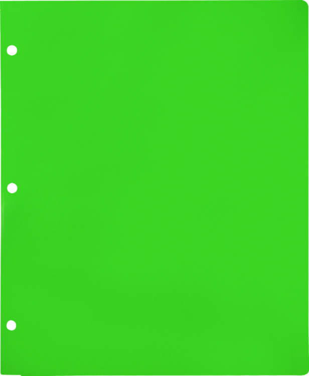 Continuous Pocket Folders w/ 3 Hole Punch Lime Green