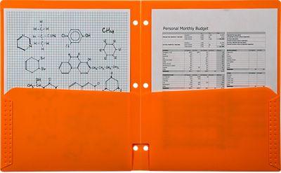 Continuous Pocket Folders w/ 3 Hole Punch Orange