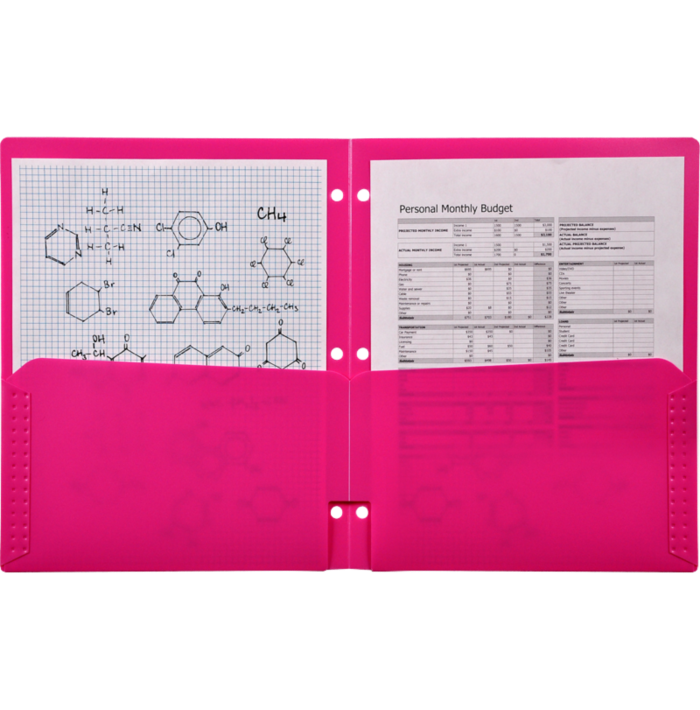 Continuous Pocket Folders w/ 3 Hole Punch Pink