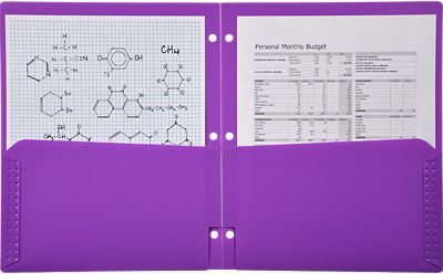 Continuous Pocket Folders w/ 3 Hole Punch Purple