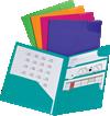 Oxford® Divide It Up 4-Pocket Poly Folders Assorted