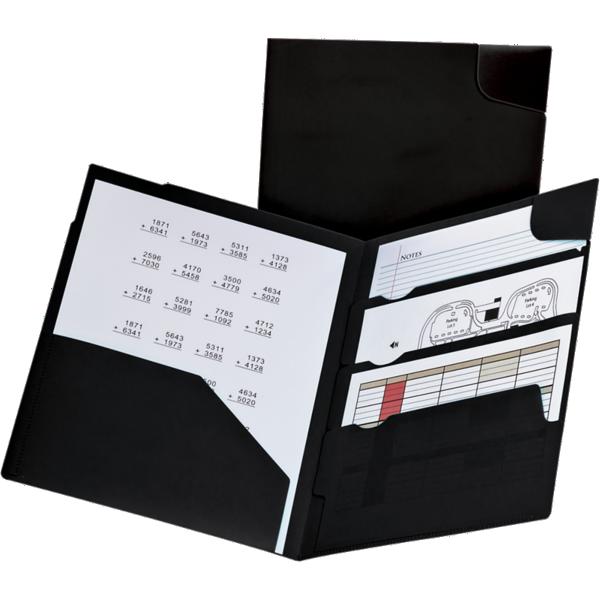 Oxford® Divide It Up 4-Pocket Poly Folders Black