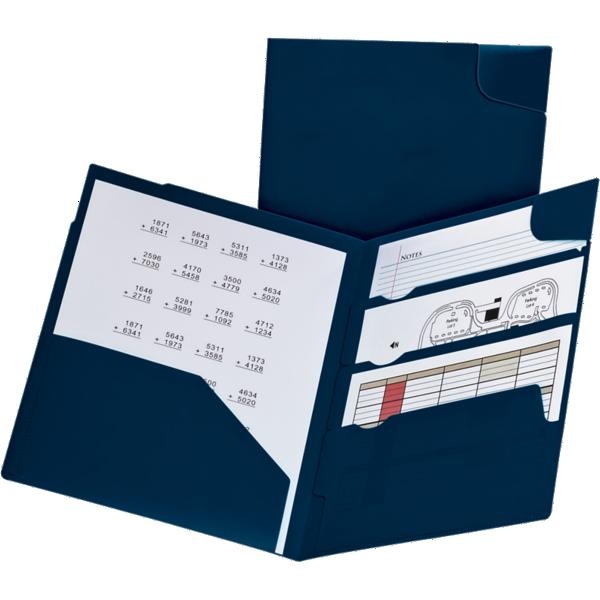 Oxford® Divide It Up 4-Pocket Poly Folders Navy