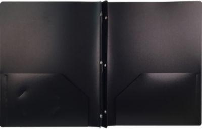 9 x 12 Presentation Poly Folders w/ Brads Black