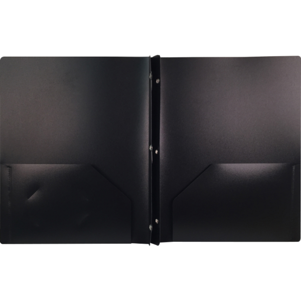 9 x 12 Presentation Poly Folders w/ Brads Black