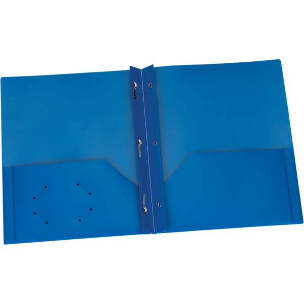 9 x 12 Presentation Poly Folders w/ Brads Blue
