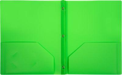 9 x 12 Presentation Poly Folders w/ Brads Bright Green
