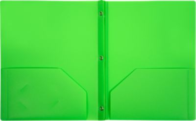 9 x 12 Presentation Poly Folders w/ Brads Bright Green