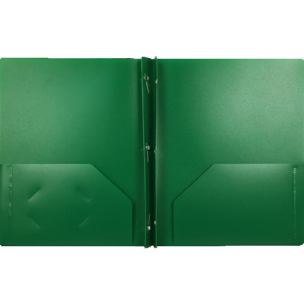 9 x 12 Presentation Poly Folders w/ Brads Dark Green