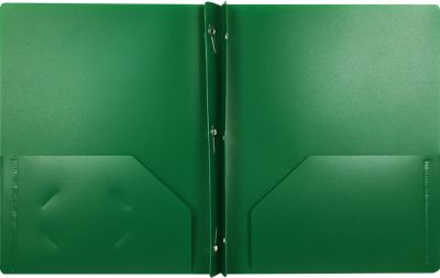 9 x 12 Presentation Poly Folders w/ Brads Dark Green