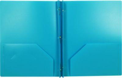9 x 12 Presentation Poly Folders w/ Brads Light Blue