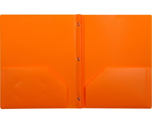 9 x 12 Presentation Poly Folders w/ Brads Orange