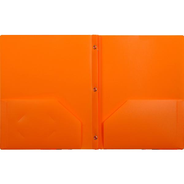 9 x 12 Presentation Poly Folders w/ Brads Orange