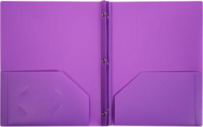 9 x 12 Presentation Poly Folders w/ Brads Purple