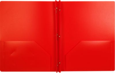 9 x 12 Presentation Poly Folders w/ Brads Red