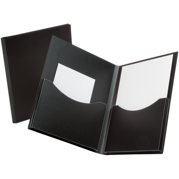 Oxford® Double Stuff Poly Folders Black